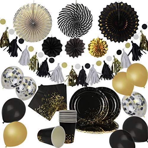 (Party Chic Black and Gold Dot Party Pack Disposable Gold Foil 10 Dinner Plates 10 9 oz Cups 10 Napkins Decorations 6 Party Fans 1 Polka Dot DIY Tassel Garland)