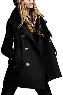 d06daf10b434 Trenchcoat Damen Lang Herbst Winter Oversize Übergangsmantel Schwarz Elegant  Jungen Longsleeve Freizeit Mode Coat Mantel Oberbekleidung