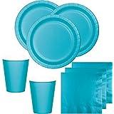 52 Teile Party Deko Set Bermuda Blau für 16 Personen