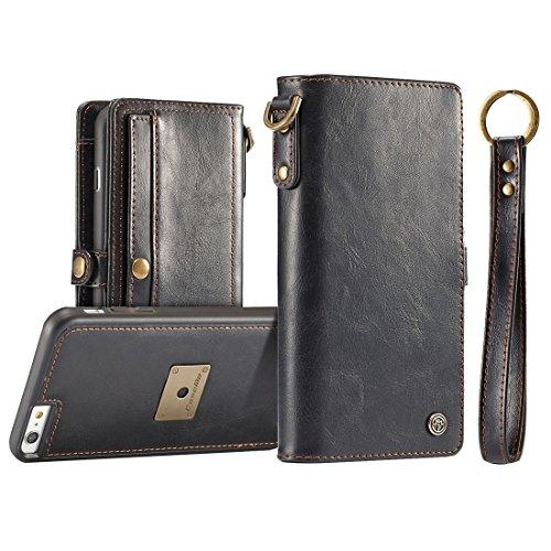 GHC Cases & Covers, für iPhone 6 u. 6s, TPU + PC abnehmbarer magnetischer horizontaler Schlag-Leder-Kasten mit Kartenschlitzen u. Mappe u. Foto-Rahmen u. Speicher-Ausschnitte u. Metallschlüssel-Abzugl