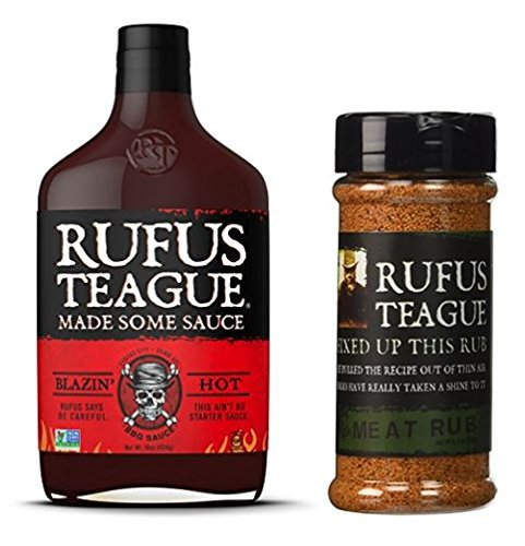 Rufus Teague Blazin' Hot BBQ Sauce 16oz & Original Meat Rub,