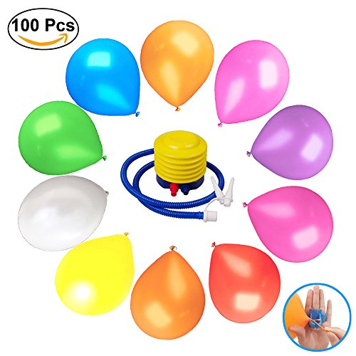 100 Balloons latex (10in&10color) & Balloon pump&Balloon Tying Tool for play games Birthday/Party/Christmas/Weddings And Holidays Party Decoration