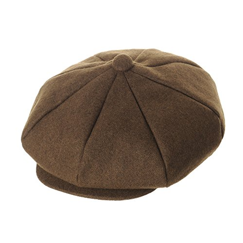 WITHMOONS Wool Blend Baker Boy Flat Cap Monochrome Beret IVY Hat LD3558 (Brown)