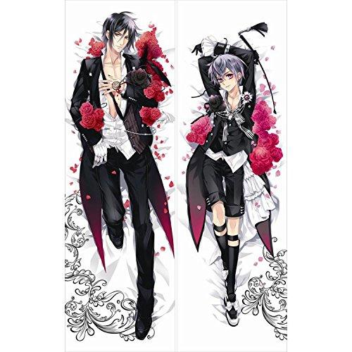 Japan Anime Black Butler Hepburn: Kuroshitsuji Sebastien Michaelis Ciel Phantomhive Decorative Hugging Body Pillow Cover Case Double-sided 59.06'x19.69'
