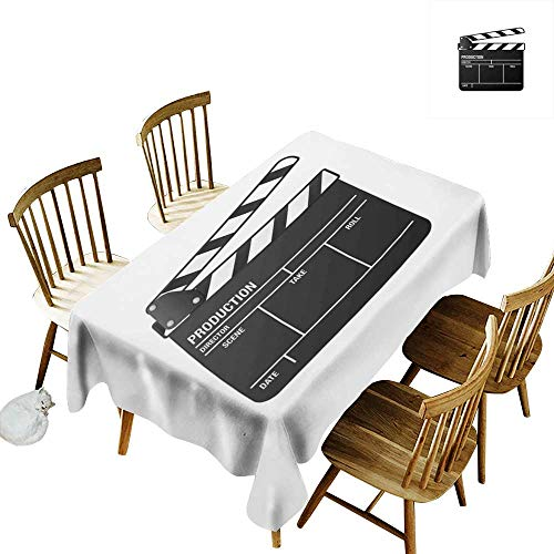 W Machine Sky Wrinkle Resistant Tablecloth Movie Theater Realistic Illustration of a Clapper Board Symbol for Film and Video Industry W60 xL90 for Family Dinners,Parties,Everyday -