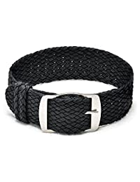 Ullchro Nylon Watch Strap Replacement Perlon Braided Woven Watch Band NATO Men Women - 14mm, 16mm, 18mm, 20mm, 22mm Watch Bracelet with Stainless Steel Silver Buckle (20mm, Black)