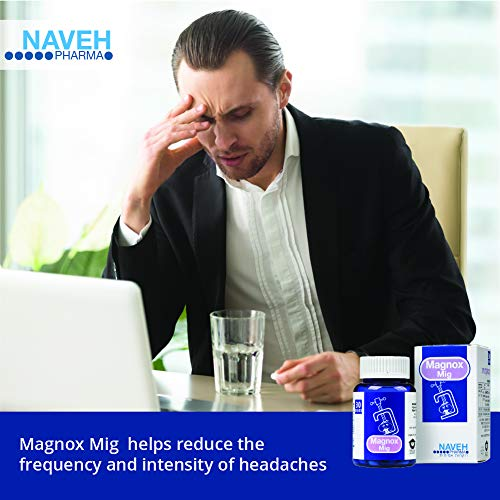Magnox Mig Magnesium Supplement Tablets (30) for Migraine Headaches and General Pain Relief Due to Magnesium Deficiency, by Naveh Pharma