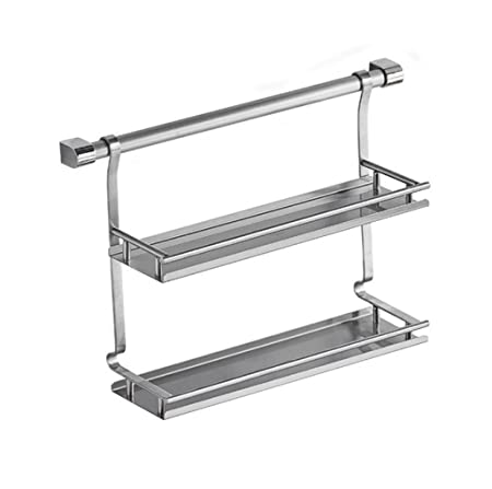 Wall Mounted Double Tier Stainless Steel Spice Rack Kitchen
