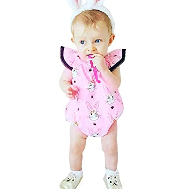 74d0f985034a Easter Baby Bodysuit,Infant Toddler Kid Jumpsuit Fly Sleeve Easter Day  Rabbit Pattern Romper Playsuit Outfit: Clothing