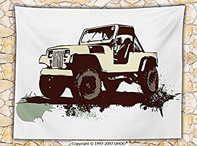 Grunge Decor Fleece Throw Blanket Retro Pop Art Vintage Military Car Jeep on the Road Adventure Graphic Throw Mint Brown Cream