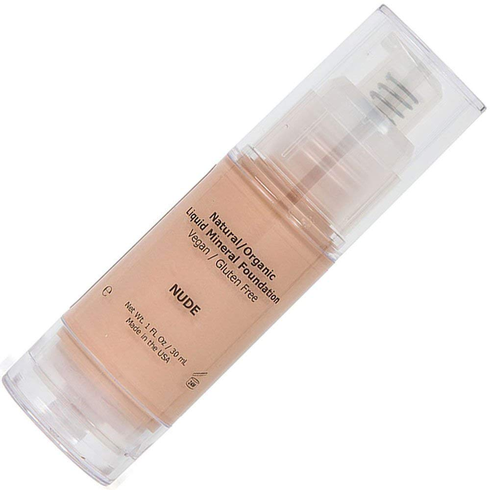 Light Liquid Foundation Mineral Makeup - All Natural, Organic, Vegan, Cruelty/Gluten Free, Waterproof, Without Chemicals For Normal/Dry/Sensitive/Acne/Rosacea/Oily/Teen/Mature/Older Skin - Nude