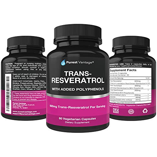 51zkd2qV36L - Resveratrol Supplement - Potent 1400mg Formula with Trans Resveratrol, Quercetin, Grape Seed, Green Tea, Acai and Red Wine Extract - 60 Veggie Capsules
