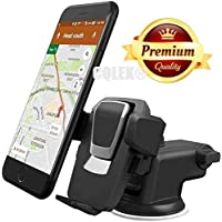 CQLEK® Car Mobile Phone Holder - Telescopic One Touch Long Neck Arm Adjustable Quick Stand Technology 360 Degree Rotation with Ultimate Reusable Suction Cup Mount for Car Dashboard/Windshield/Desktop