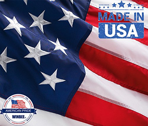 Winbee American Flag 3x5 ft.100% 300D Nylon with Sewn Stripes, Embroidered Stars and Brass Grommets. Pride with This American Flag. Fly Your US Flag Proudly