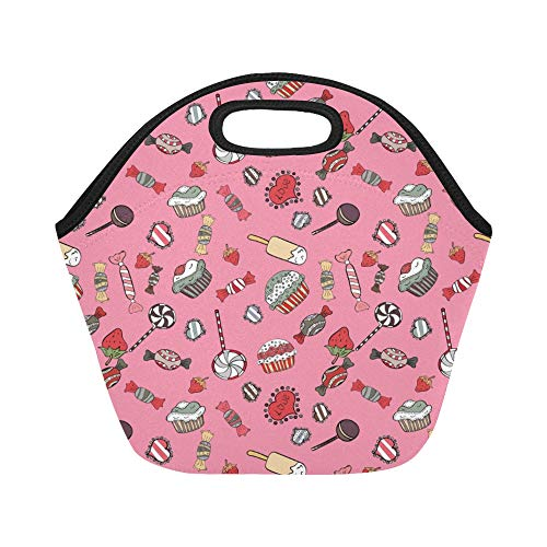 Insulated Neoprene Lunch Bag Colorful Retro Hand Illustrated Halloween Treats Large Size Reusable Thermal Thick Lunch Tote Bags Lunch Boxes For Outdoor Work Office School