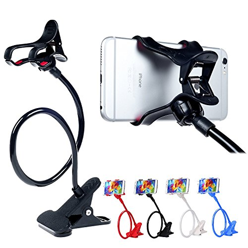 ITART Plastic Flexible Long Arms Gooseneck Clip Clamp Stand Universal Cell Phone Holder - Black