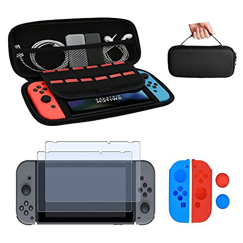 Nintendo Switch Case, with Tempered Glass Screen Protector 2 Pack, Silicone Joy-con Gel Guards 2 Pack From YOCOU