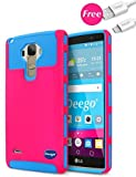 LG G Stylo Case, LG G Stylus Case, LG LS770 Case, Deego 2in1 Hybrid Armor Dual Layer Full-Body Rugged [Hard PC Silicone] Protective Cover Case For LG LS770 with Free USB Cable (Rose+Blue)