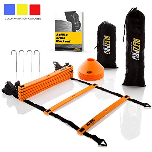 BltzPro Agility Speed Ladder 11 flat rungs Bundle with 10 Sports Cones ,Bonus 2 Carrying Bags 4 Metal pegs and Agility Drills Ebook,A Multi sport training tool.