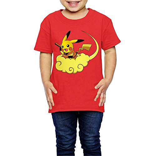 2-6 Toddler Little Girl's Fly GokuChu Auspicious Clouds Cute Short-sleeve Tee Red