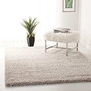 Safavieh California Premium Shag Collection SG151 2-inch Thick Area Rug, 6'7″ x 6'7″ Square, Beige