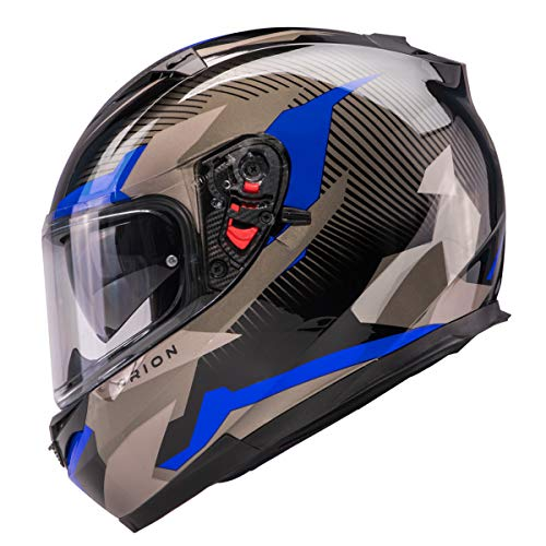 Orthrus Orion Series Full-Face Street Bike Cruiser Motorcycle Helmets With Drop-down Inner Sun Shield DOT (XL, Gloss Blue) (Best Sport Touring Motorcycle Helmet)