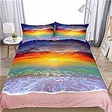 Sleepwish Beach Bedding Rainbow Sunset Duvet Cover Wave Sand Nature Duvet Cover 3 Pieces Ocean Scene Bedding (King)
