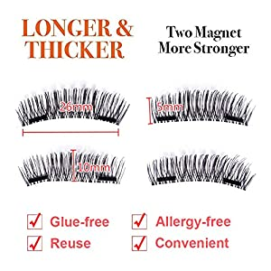 3D Double Magnetic False Eyelashes 24P Handmade Reusable Eye lashes Eyebrows for Makeup Glue-free Allergy-free(4 Pcs)