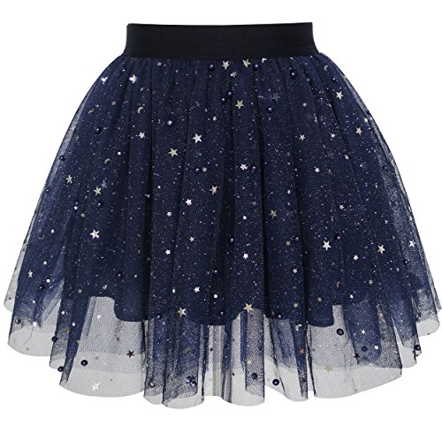 (Sunny Fashion LH11 Girls Skirt Navy Blue Pearl Stars Sparkling Tutu Dancing Size 4-5)