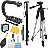 """Adventurers Professional Exploration kit for Canon EOS 550D (EOS Rebel T2i / EOS Kiss X4), Bundle Contains: 72"""" Monopod - 59"""" Tripod - Stablilizer Grip - Plus More!"""