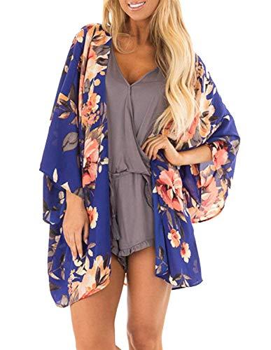 Women Oversized Bat Wing Sleeve Cardigan Chiffon Short Blouse XL Royal Blue