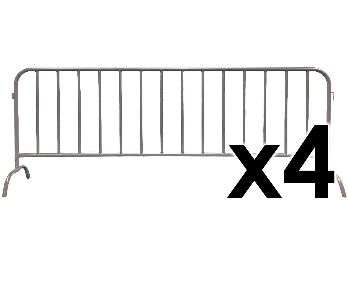 Electriduct 8.5 Feet Heavy Duty Steel Barrier Interlocking Crowd Control Barricade with Galvanized Finish (Pack of 4 Barricades)