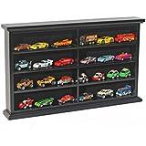 Hot Wheel Matchbox Car Display Case Rack Cabinet or Stand, Wood, HW-MH07 (Black)