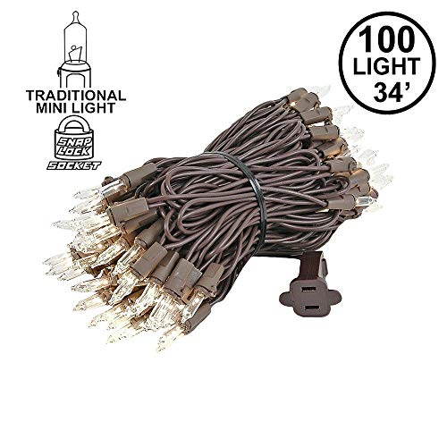 Wire Christmas Light - Novelty Lights 100 Light Clear Christmas Mini Light Set, Brown Wire, 34' Long