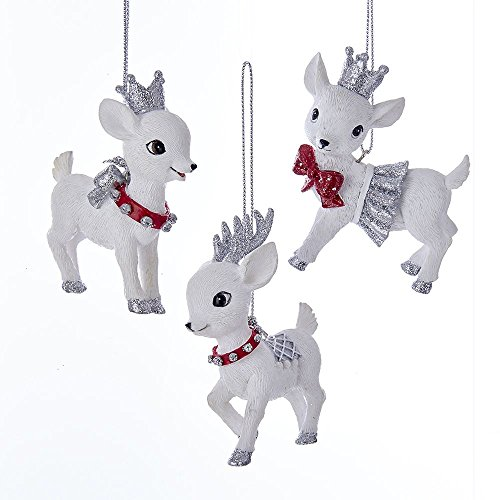 "Kurt Adler 3"" Red and Silver Baby Deer Ornaments Set of 3"