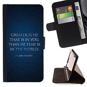 BullDog Case - FOR/Samsung Galaxy Note 3 III / - / JOHN 4:4 KJV GREATER IS HE /- Monedero de cuero de la PU Llevar cubierta de la caja con el ID Credit Card Slots Flip funda de cuer
