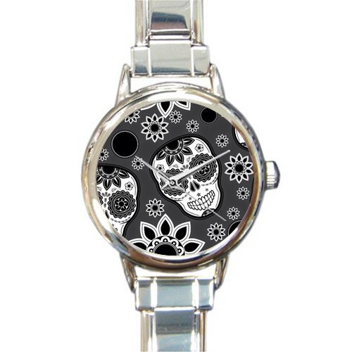 (Personalized Watch Sugar Skull and Beautiful Flowers Round Italian Charm stainless steel Watch)