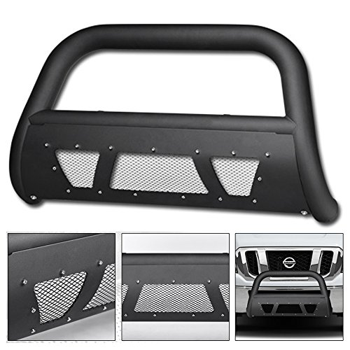 VXMOTOR 2012-2016 Nissan NV1500 / NV2500 / NV3500 Van Matte Black Heavyduty Studded Mesh Bull Bar Brush Push Front Bumper Grill Grille Guard With Skid Plate (Guard Brush Used)