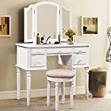 Merax Vanity Set w/ Stool Make-up Dressing Table Bedroom Dressing Table (White) (white)