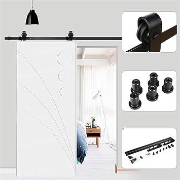 Hetai - Juego de herramientas para puerta corredera de madera con riel deslizante de acero, sistema de pista antigua, color negro: Amazon.es: Bricolaje y herramientas