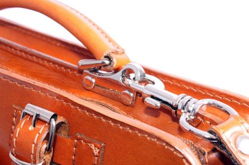 Charming Chics - Bolso estilo cartera de cuero para mujer Tan orange One Size