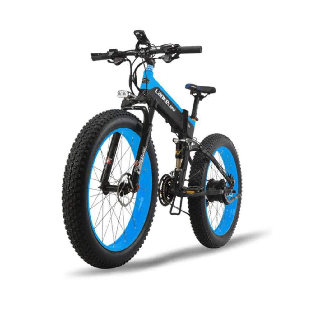 CAKG Elektrisches Fahrrad Gebirgsbreiter Reifen 26 Geschwindigkeits-Mountainbike 27 unterstützt das Falten von elektrischem Alles Schnee Zoll Fahrrad 80-100 km,Grün-48V10ah Blau 48V10ah