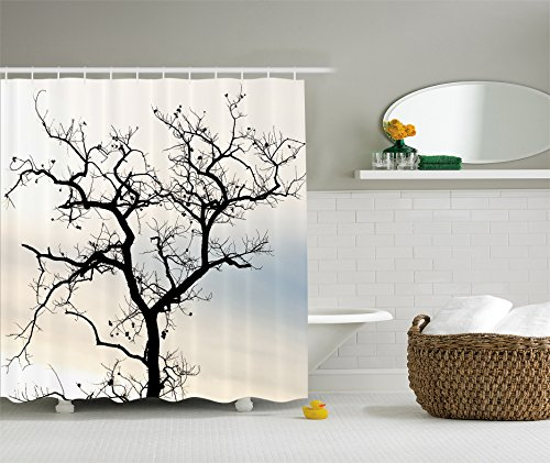 Falling Leaves Picture (Woodsy Shower Curtain Decor by Ambesonne, A Lonely Tree in Fall Black Branches with Abstract Art Falling Leaves Theme, Polyester Fabric Bathroom Set with Hooks, Ombre Blue Beige)