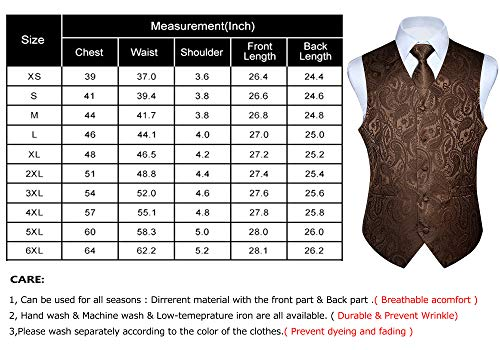 14e769c32cefc HISDERN Men's Paisley Jacquard Solid Waistcoat & Necktie and Pocket Square  Vest Suit Tuxedo Set Brown