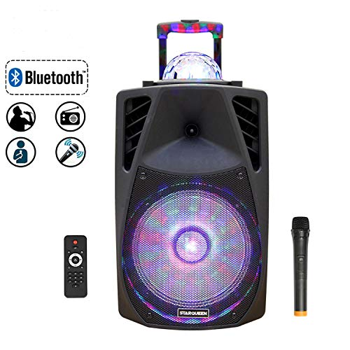 Starqueen 12Inch Portable Bluetooth Speaker, 2-Way Powered Rechargeable PA System with Wireless Microphone/Remote/Wheels/DJ Party Lights for Outdoor, Karaoke Amplifier Sound Box with AUX/FM//TF/Radio