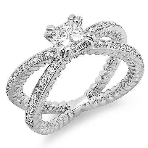 Dazzlingrock Collection 0.35 Carat (Ctw) 18k Brilliant Round Cut Diamond Split Shank Semi Mount Ladies Engagement Bridal Ring (No Center Stone), White Gold, Size 7.5