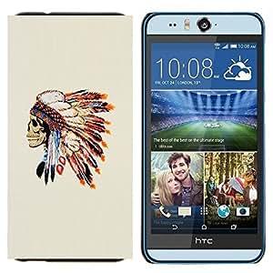 YiPhone /// Prima de resorte delgada de la cubierta del caso de Shell Armor - Plumas Cráneo nativo americano - HTC Desire Eye M910x
