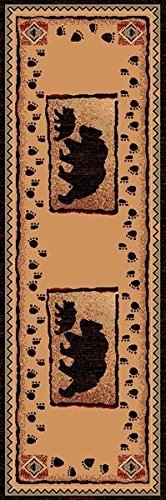 26'' X 86'' Country Theme Runner Rug Bear & Baby Bear Tan Brown Cabin Lodge