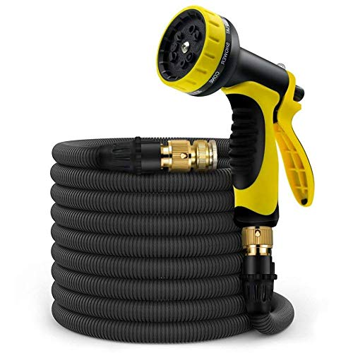 Expandable Garden Hose 50ft Water Hose with W/- 9 Pattern Spray Gun Nozzle, 3/4 Solid Brass Connectors Flexible Garden Hose,Triple Latex Core,Extra Strength Fabric+Storage Bag Expanding Hose (Yellow) by MoreBest