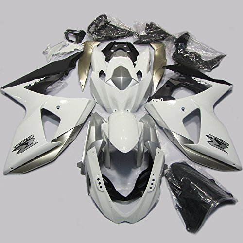 ABS Injection Molding - White and Black Painted with Graphic Fairing Kit for 2009 2010 2011 2012 2013 SUZUKI GSX-R (One Industries Suzuki Graphics)